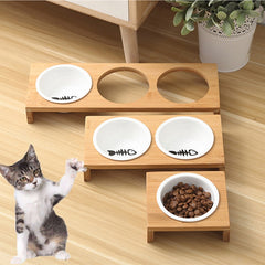Elevated Cat and Dog Bamboo Feeding Bowl