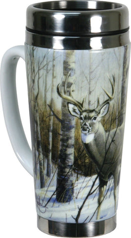 Travel mug with photo of deer in the woods during winter