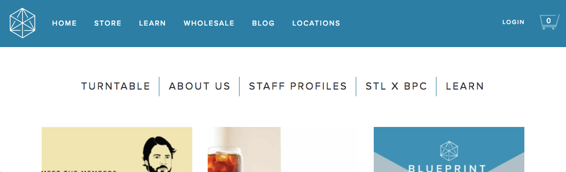 Screenshot of Blueprint Coffee website