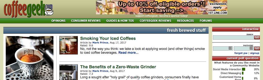 Screenshot of CoffeeGeek website