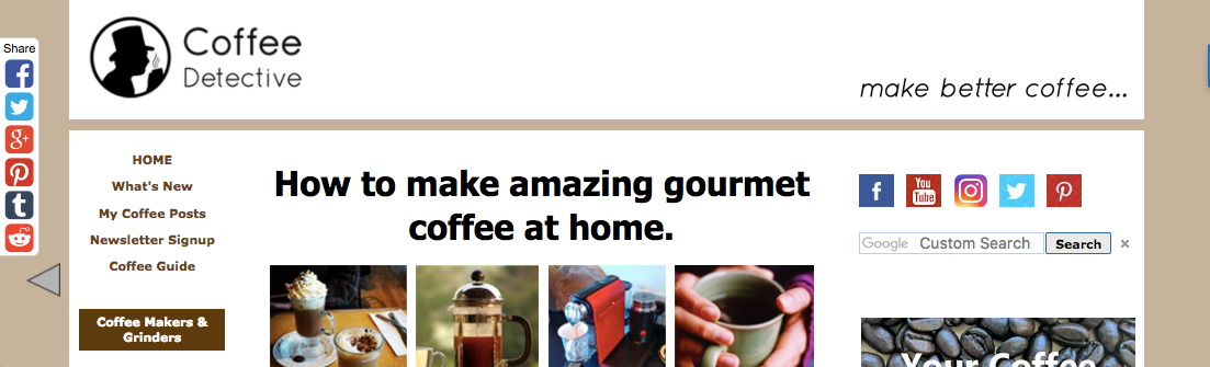 Screenshot of Coffee Detective website