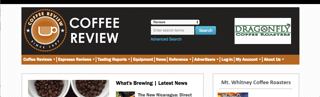 Screenshot of Coffee Review website