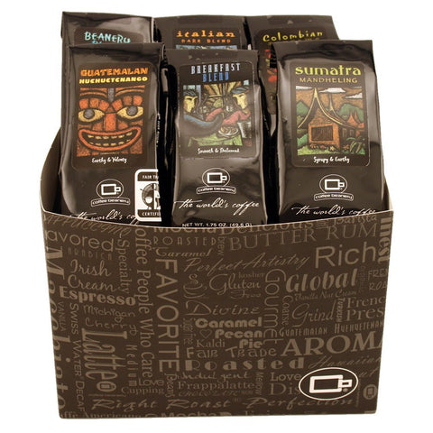 Box of six different types of coffee beans