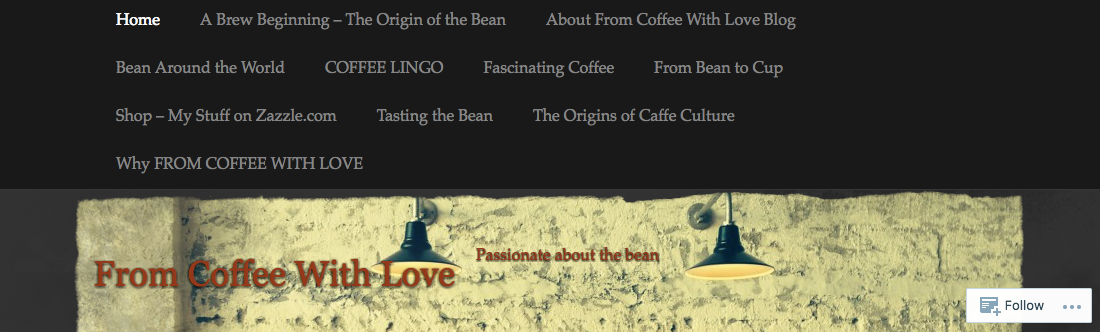 Screenshot of From Coffee With Love website