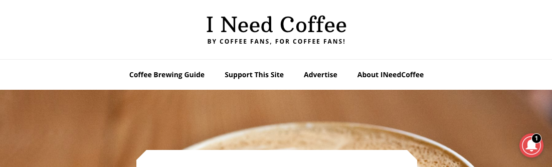 Screenshot of I Need Coffee website