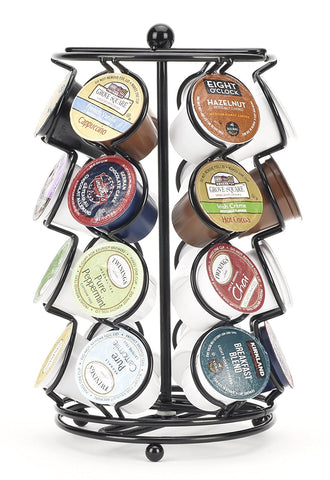K-Cup display carousel full of different coffee pods