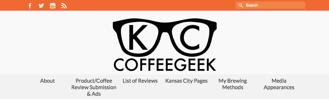 Screenshot of KC Coffee Geek website