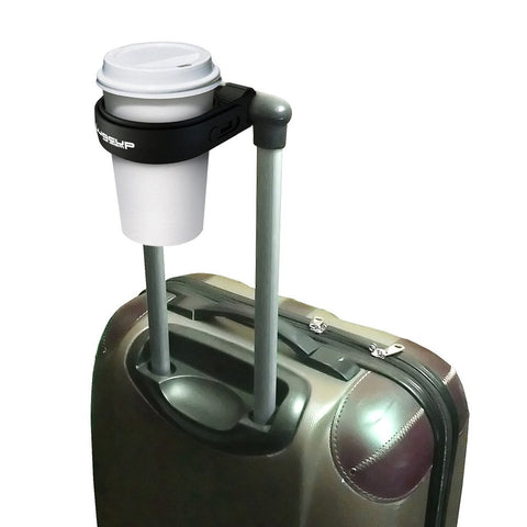 LugCup holding coffee on suitcase handle