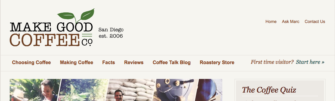 Screenshot of Make Good Coffee blog