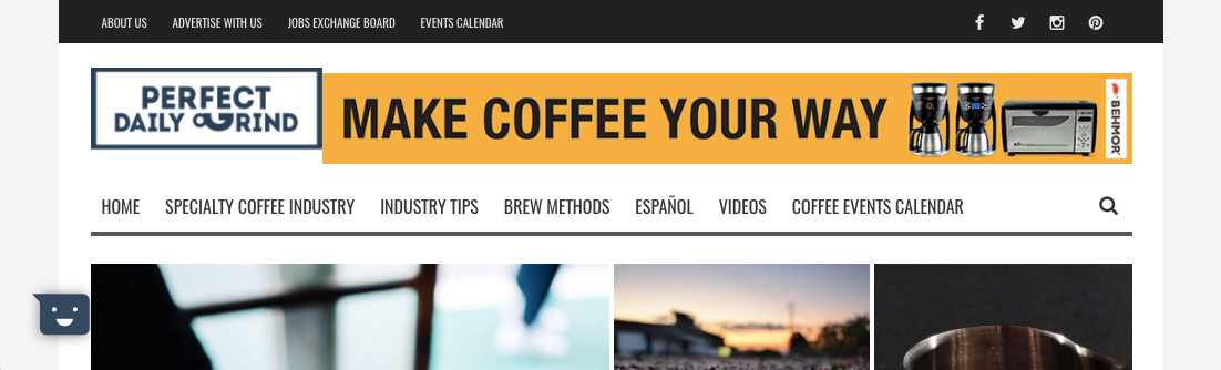 Screenshot of Perfect Daily Grind website