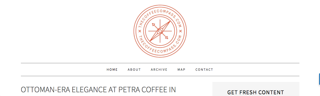 Screenshot of the Coffee Compass website