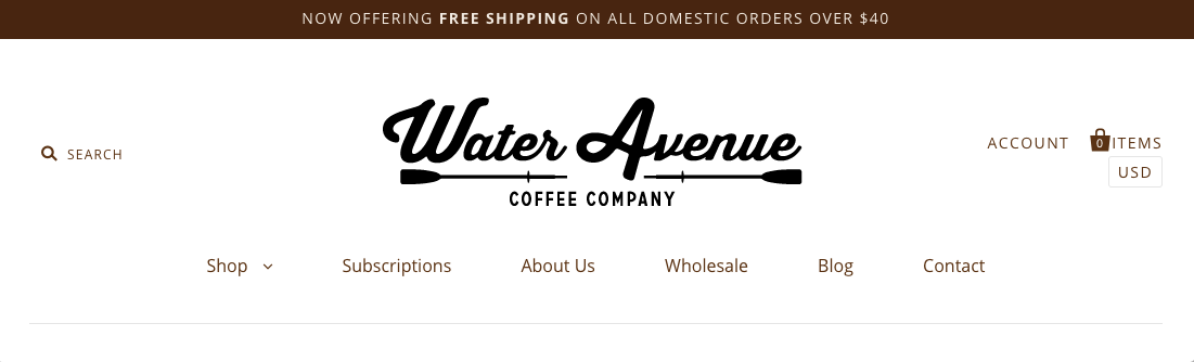 Screenshot of Water Avenue Coffee website