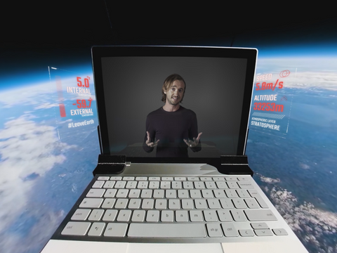 Pixelbook in space showing YouTube Premium sci-fi show Origins starring Tom Felton
