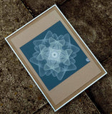 teal blue cream abstract geometric wall art