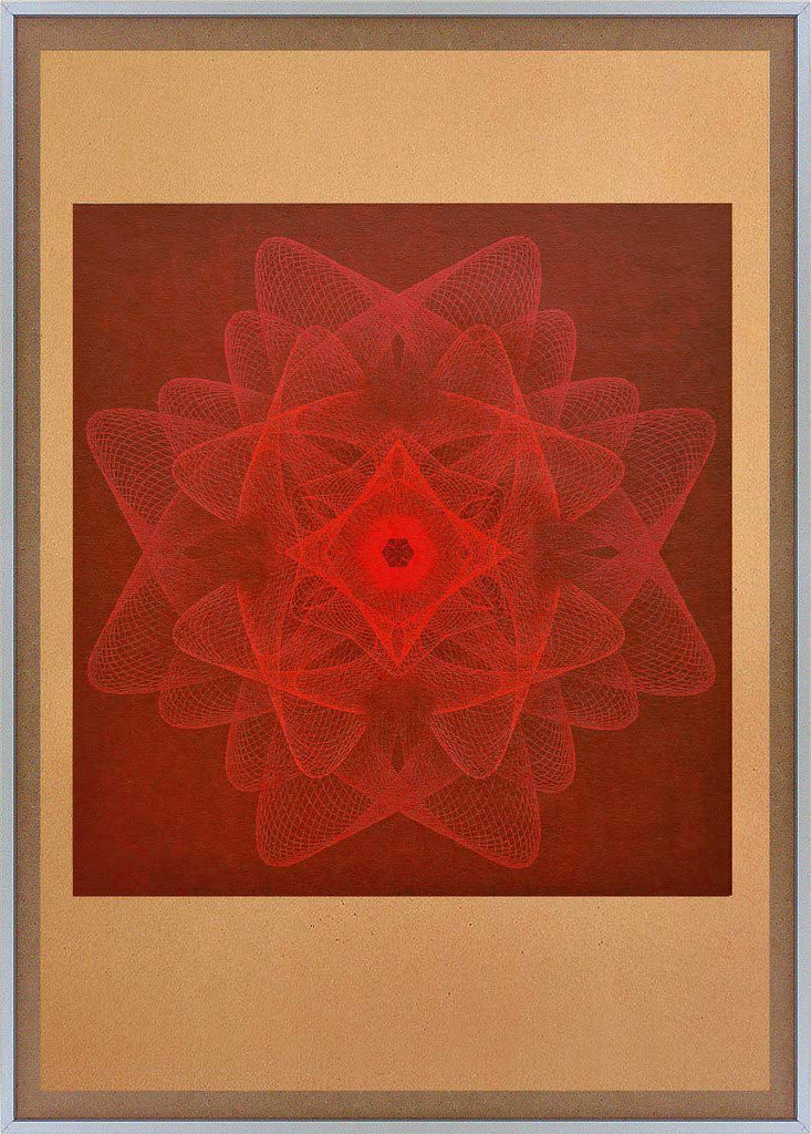 red linear geometric abstract wall art