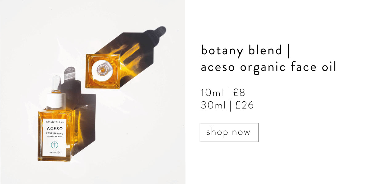 Botany blend, aceso organic face oil.