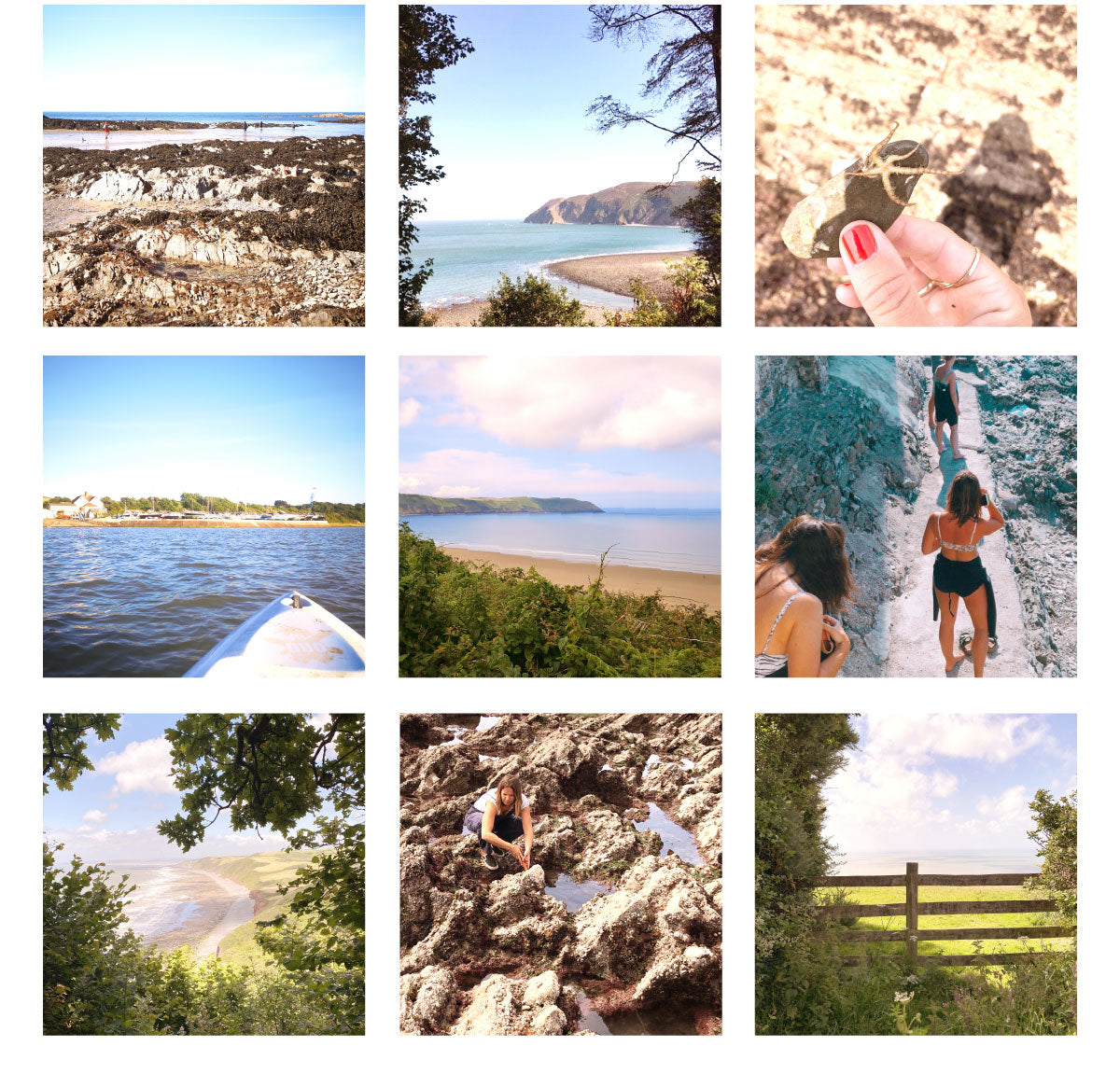 A grid of photos from the coast of North Devon - Instow, Baggy Point, Woolacombe, Morte Point, Croyde, Lee Bay
