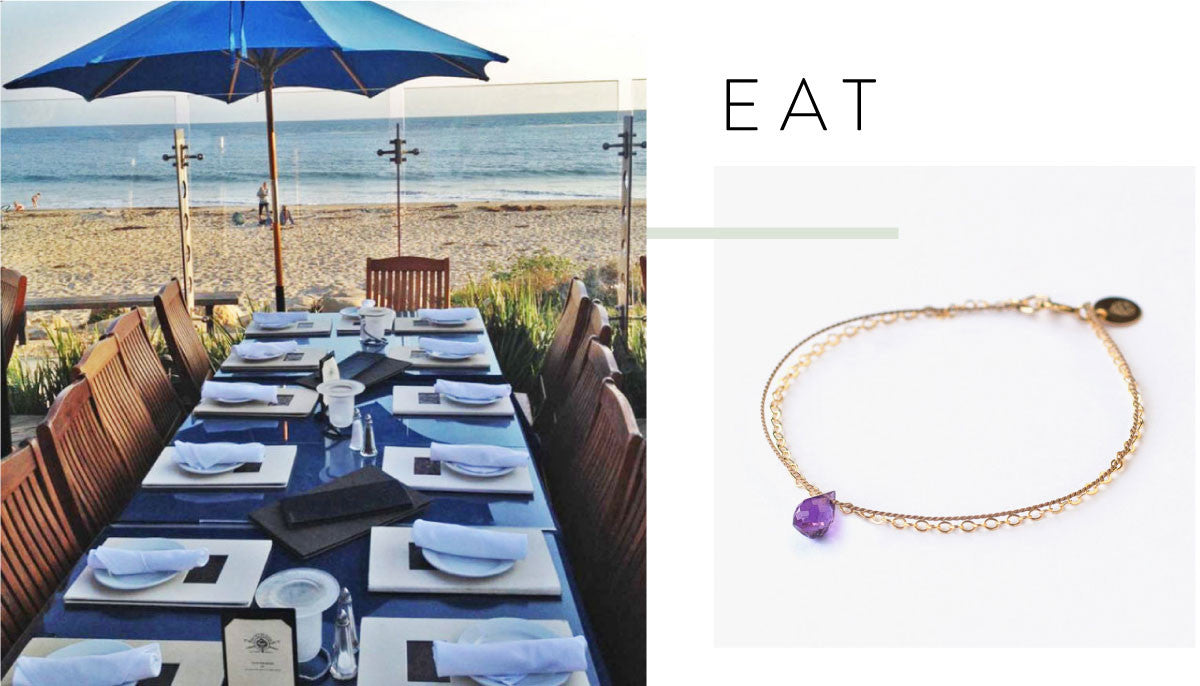 Gold & Silk Purple Amethyst Drop Bracelet £36 | Boathouse at Hendry's Beach