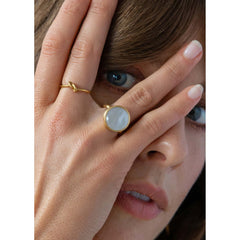 Wanderlust Life mother of pearl ring. Available in various sizes. Designed in the UK.