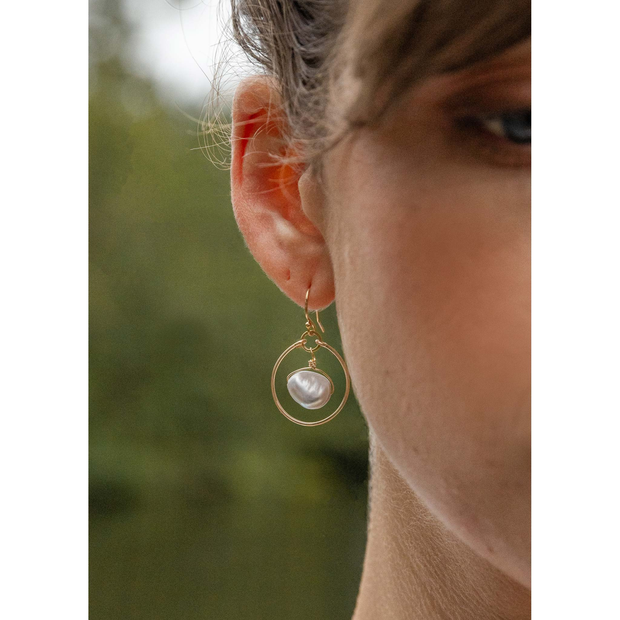 Wanderlust Life grey pearl hoop, drop earrings. Handmade jewellery in the UK.