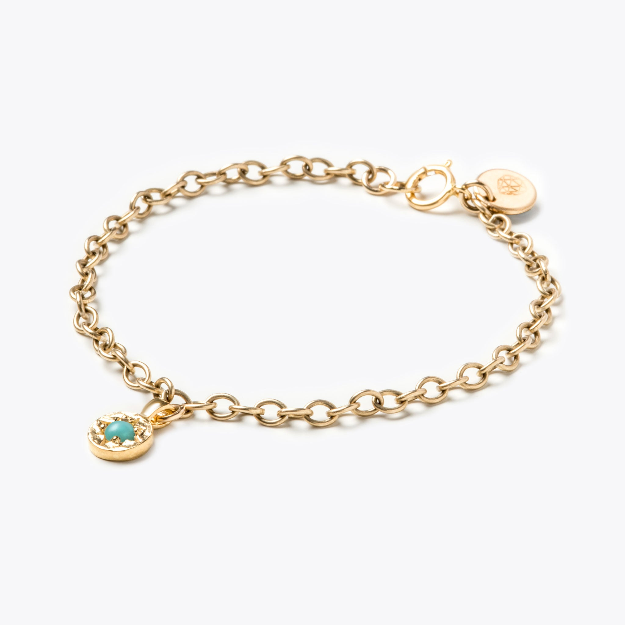Wanderlust Life gold December birthstone bracelet. December birthstone bracelet with Turquoise semi precious gemstone. Wanderlust Life handmade jewellery in the UK.
