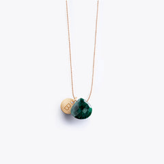 Wanderlust Life Ethically Handmade jewellery made in the UK. Minimalist gold and fine cord jewellery. Personalised May green emerald fine cord necklace with 14k gold fill personalisation tag