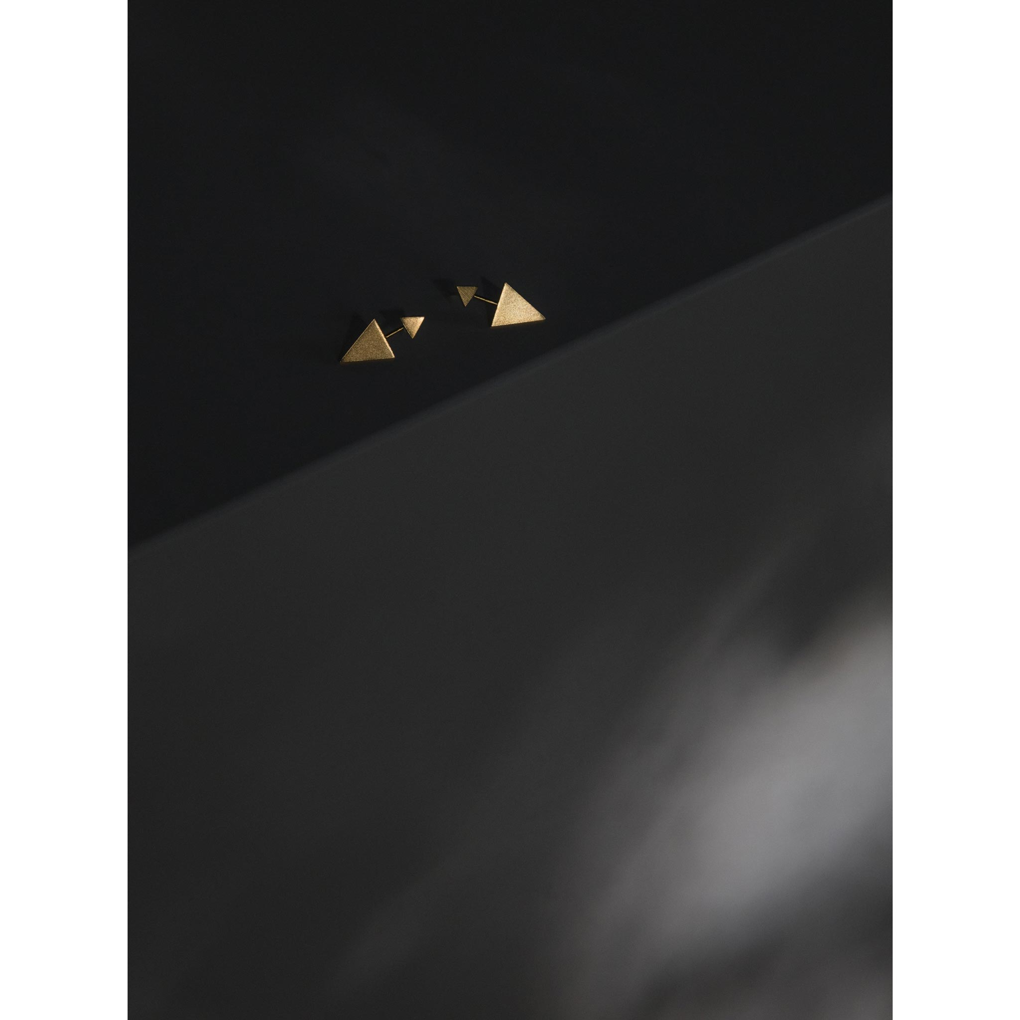 Wanderlust Life Ethically Handmade jewellery made in the UK. Minimalist gold and fine cord jewellery. ear jacket, gold fortis triangle