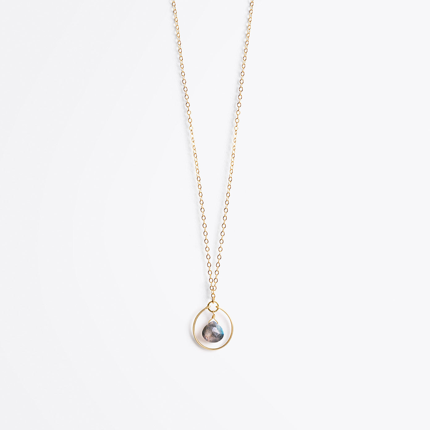 petite stella orb gold chain necklace | iridescent labradorite