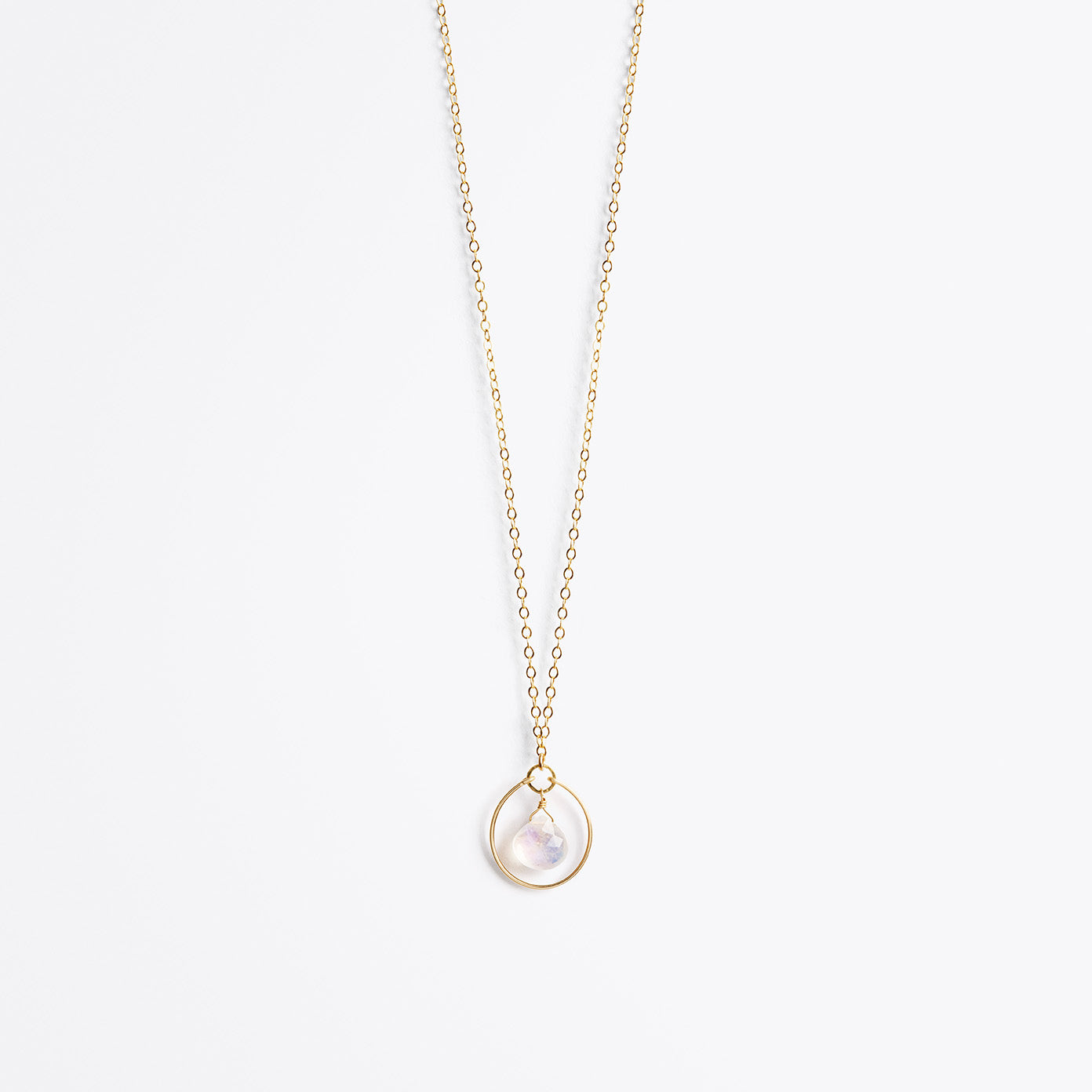 Wanderlust Life Ethically Handmade jewellery made in the UK. Minimalist gold and fine cord jewellery. petite stella orb gold chain necklace, rainbow moonstone