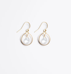 Wanderlust Life Ethically Handmade jewellery made in the UK. Minimalist gold and fine cord jewellery. petite stella orb hoop earring, clear quartz