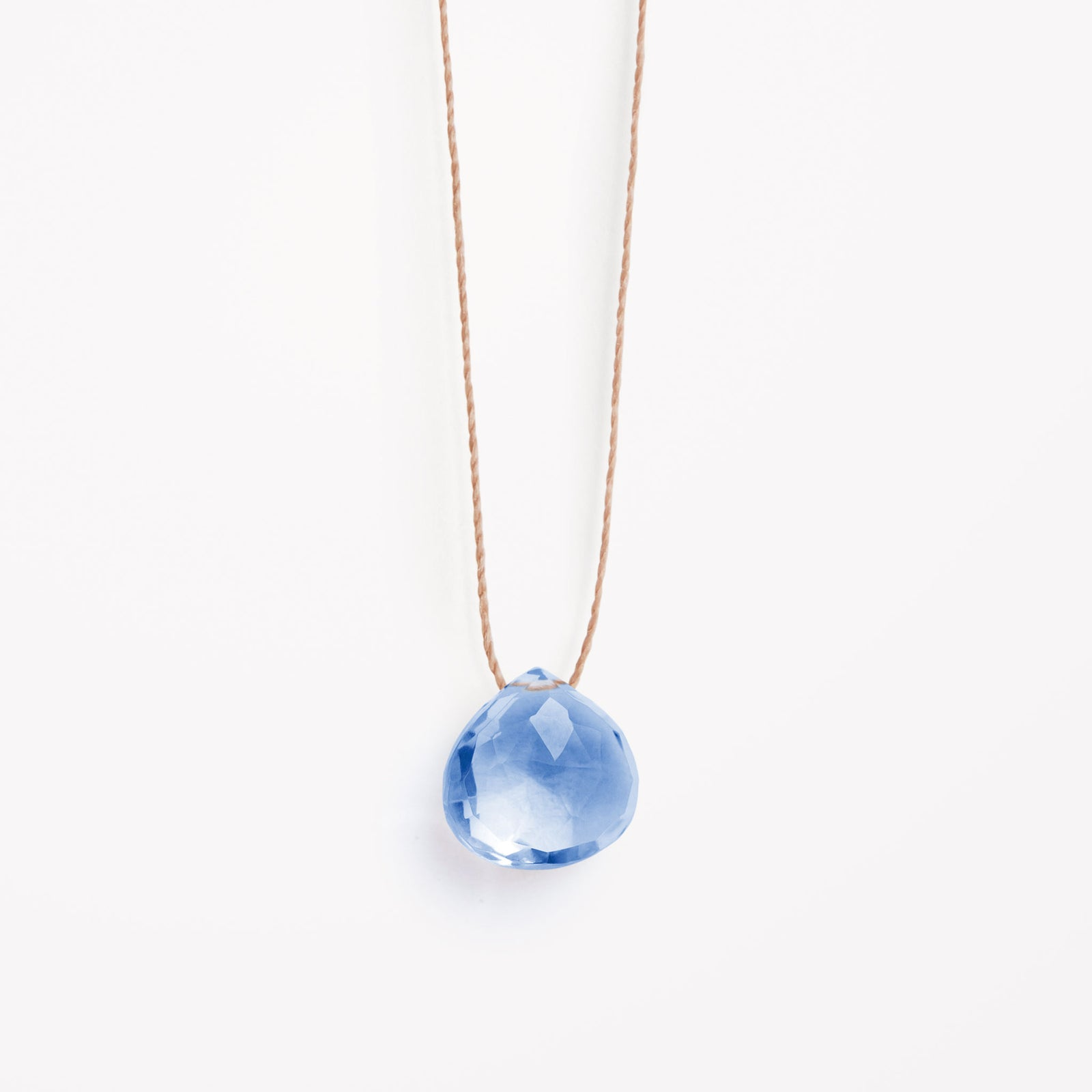 california blue quartz fine cord necklace