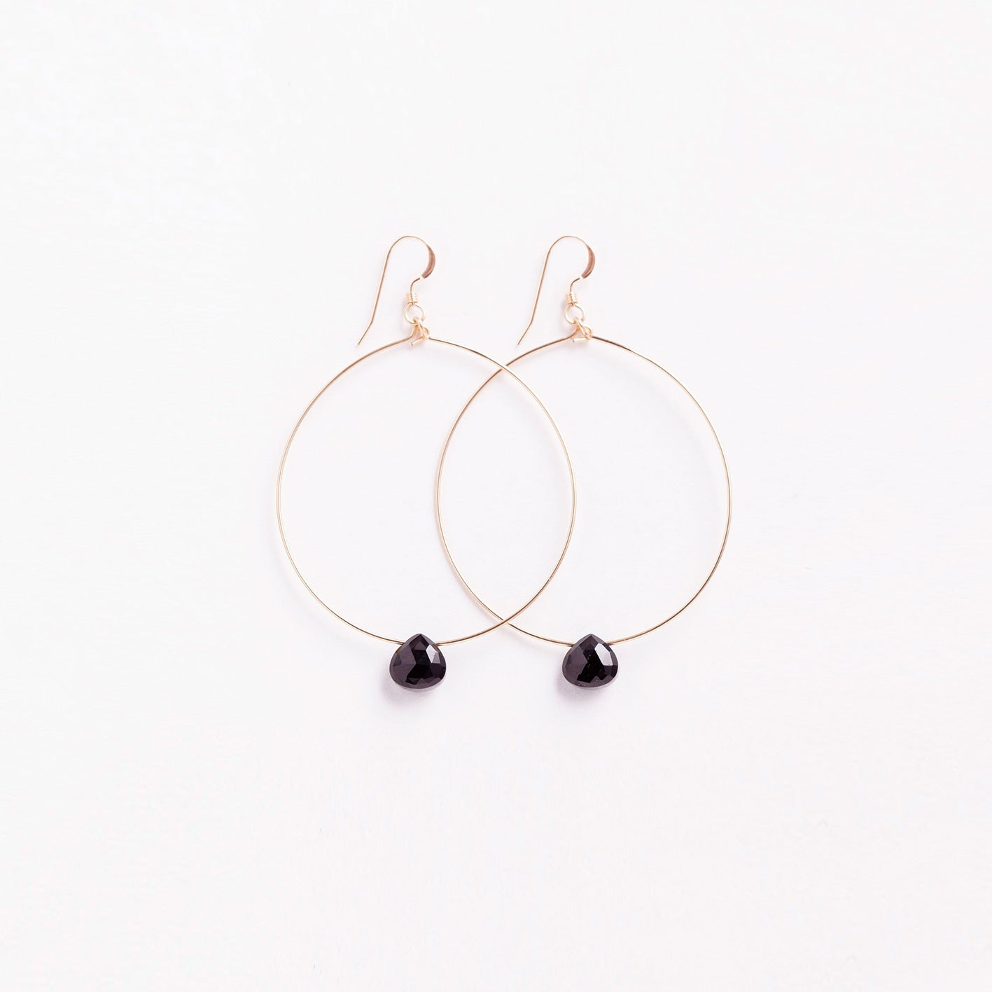 large tuscany hoop earring | black spinel