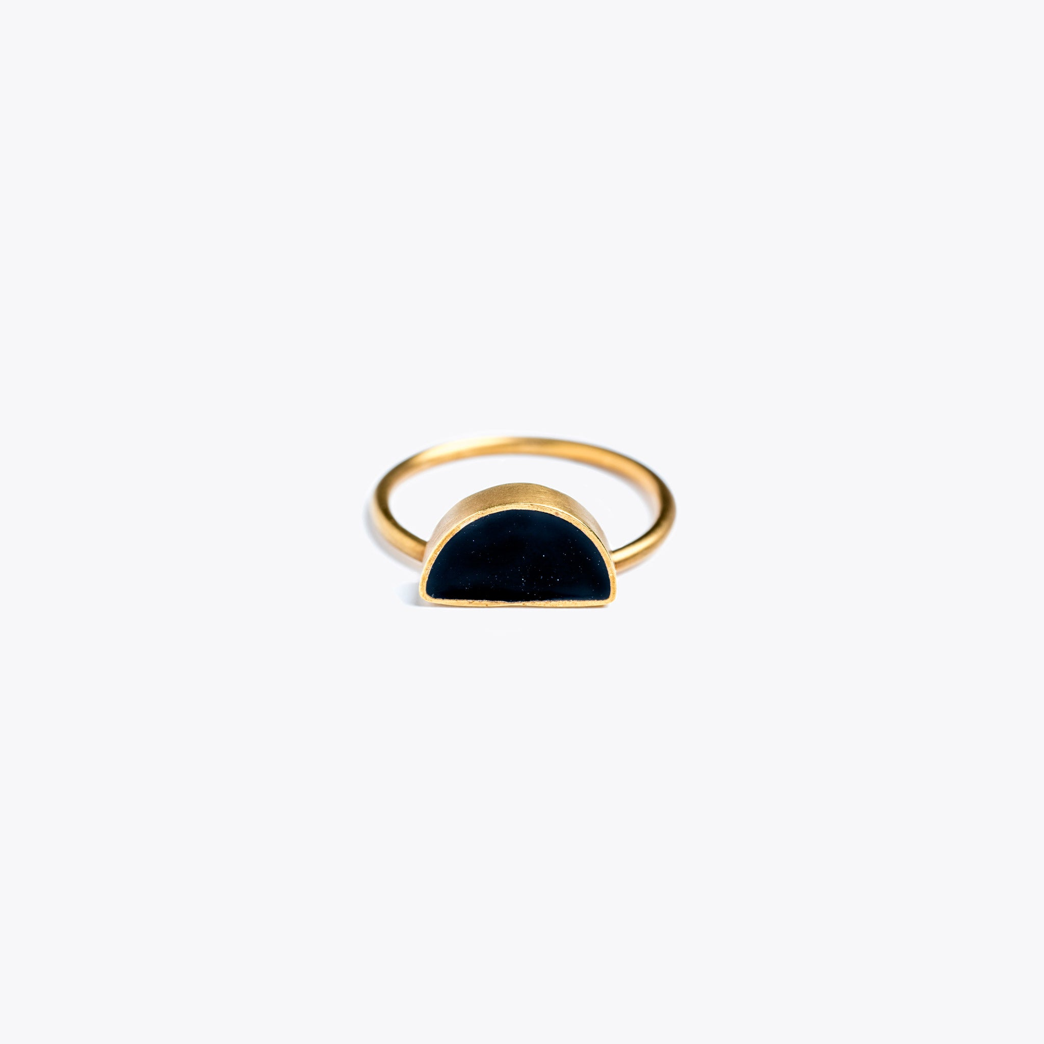 Wanderlust Life Ethically Handmade jewellery made in the UK. Minimalist gold and fine cord jewellery. sunburst noir enamel ring, black
