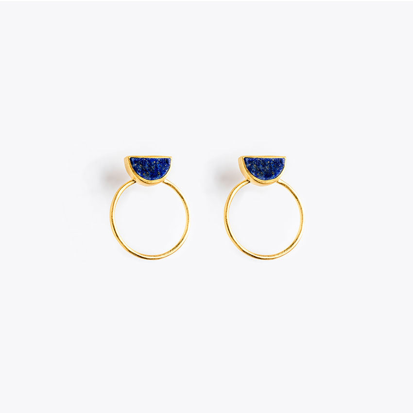 Wanderlust Life Ethically Handmade jewellery made in the UK. Minimalist gold and fine cord jewellery. sunburst halo earring, lapis lazuli