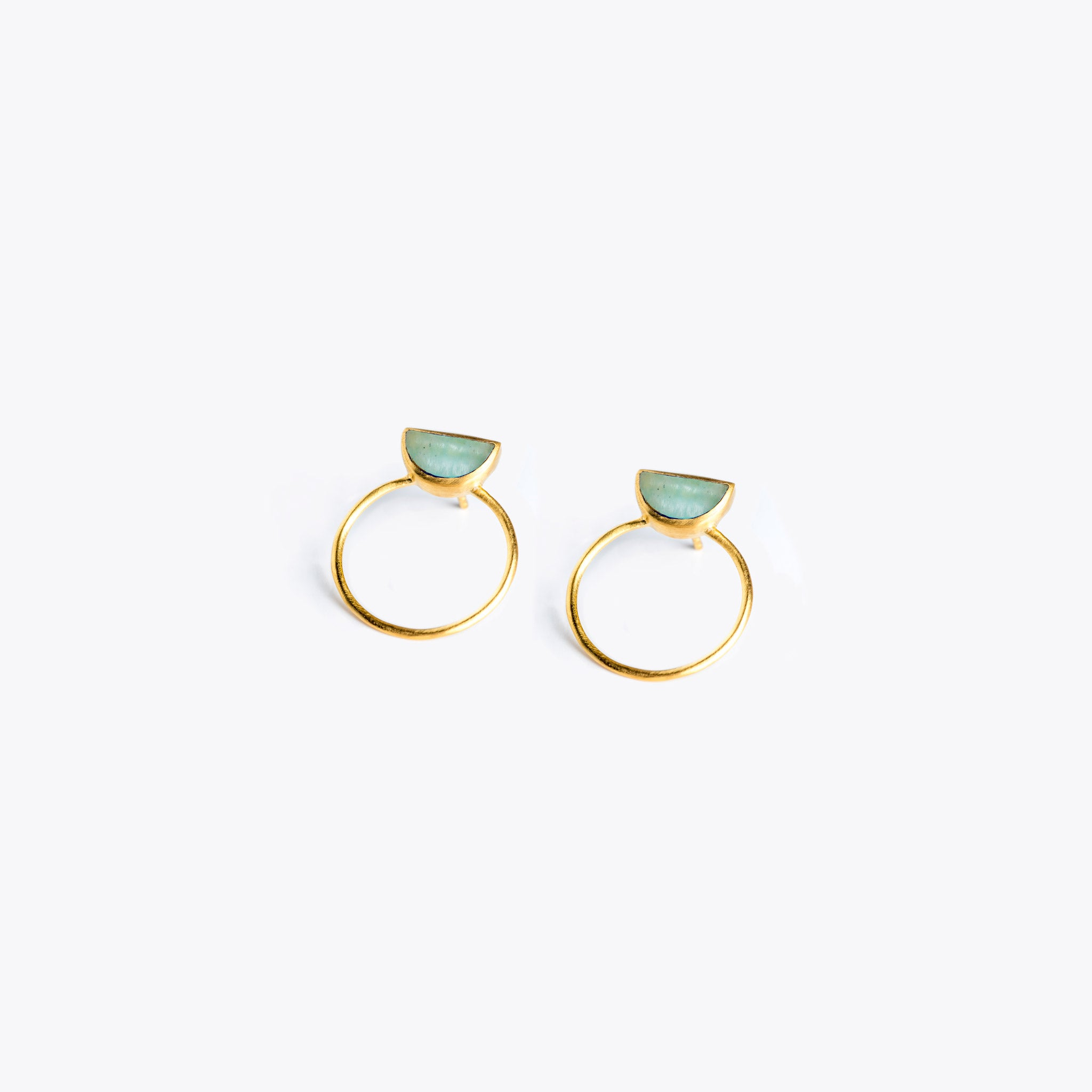 Wanderlust Life Ethically Handmade jewellery made in the UK. Minimalist gold and fine cord jewellery. sunburst halo earring, amazonite