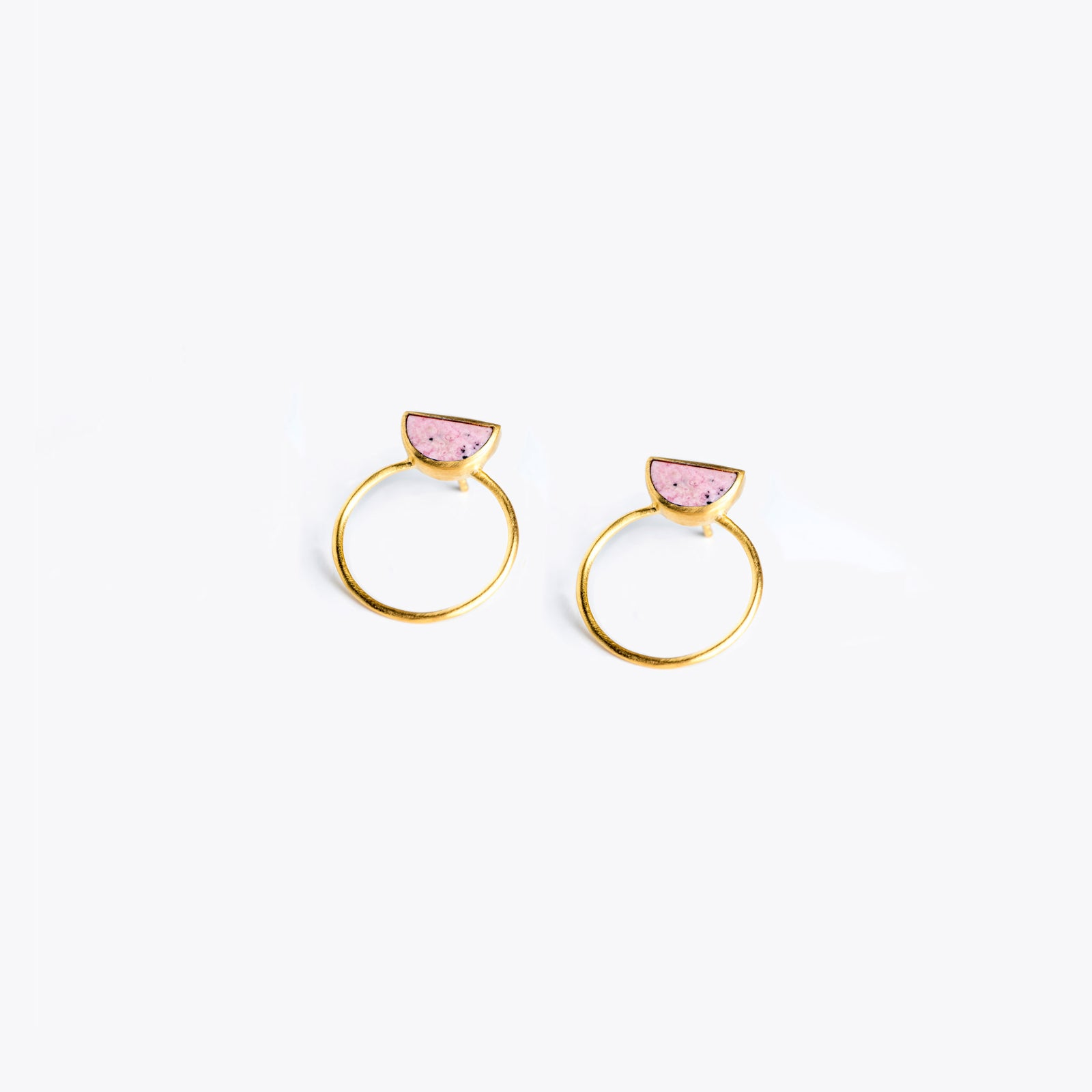 Wanderlust Life Ethically Handmade jewellery made in the UK. Minimalist gold and fine cord jewellery. sunburst halo earring, pink rhodonite