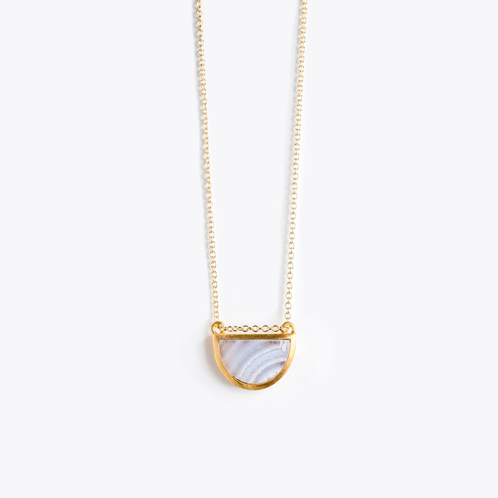 Wanderlust Life Ethically Handmade jewellery made in the UK. Minimalist gold and fine cord jewellery. sunburst fine gold chain necklace, blue lace agate