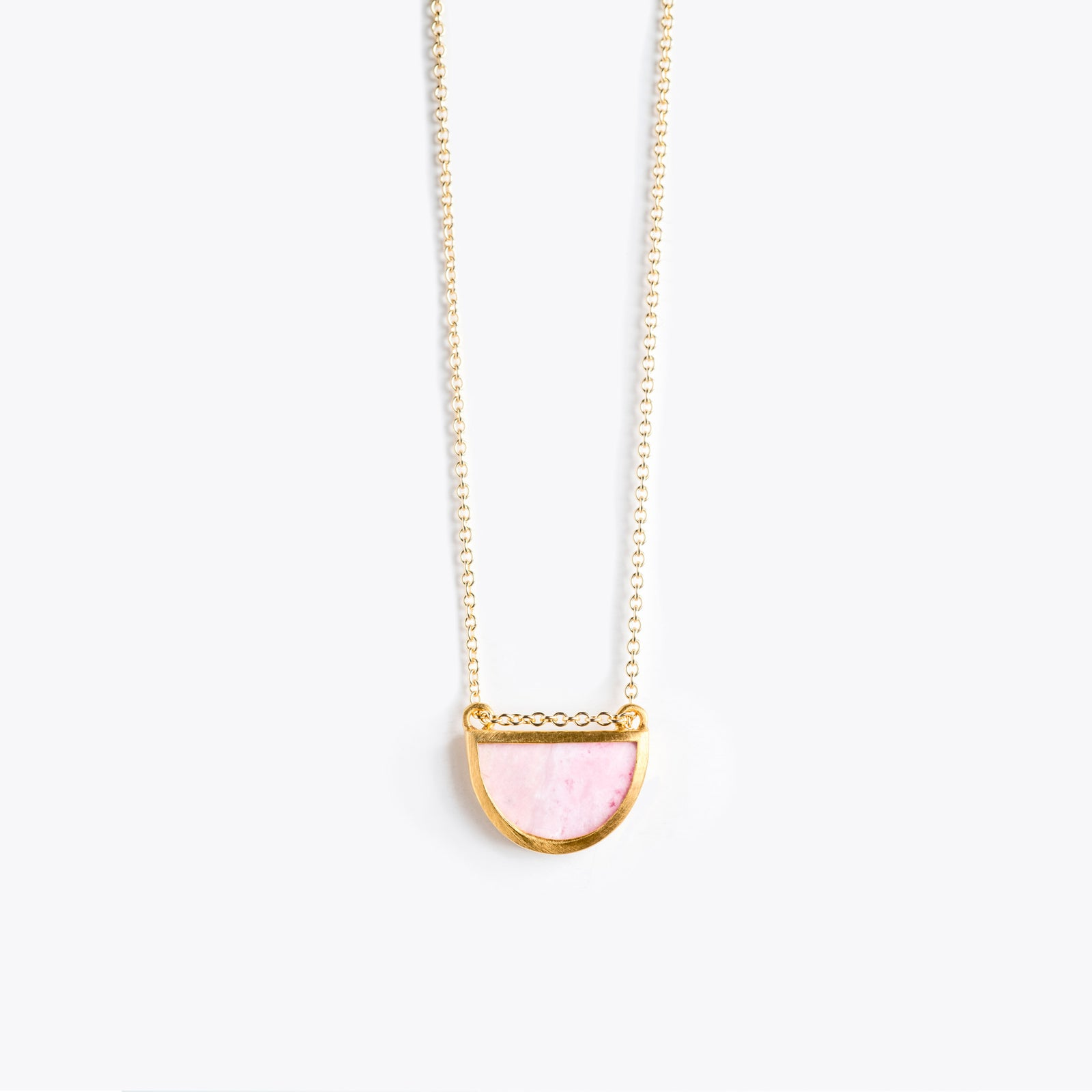 Wanderlust Life Ethically Handmade jewellery made in the UK. Minimalist gold and fine cord jewellery. sunburst fine gold chain necklace, pink rhodonite