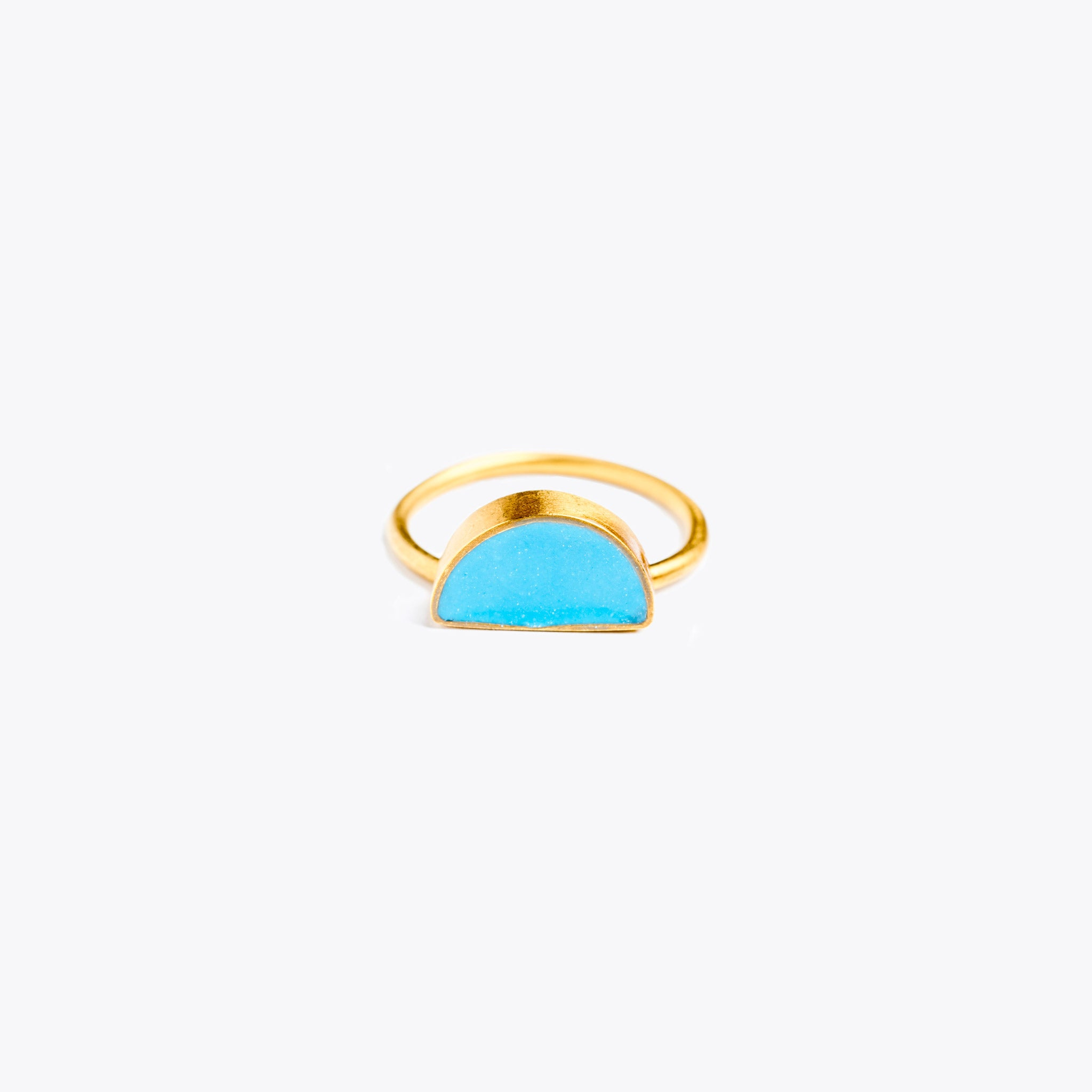 Wanderlust Life Ethically Handmade jewellery made in the UK. Minimalist gold and fine cord jewellery. sunburst enamel ring, azure blue