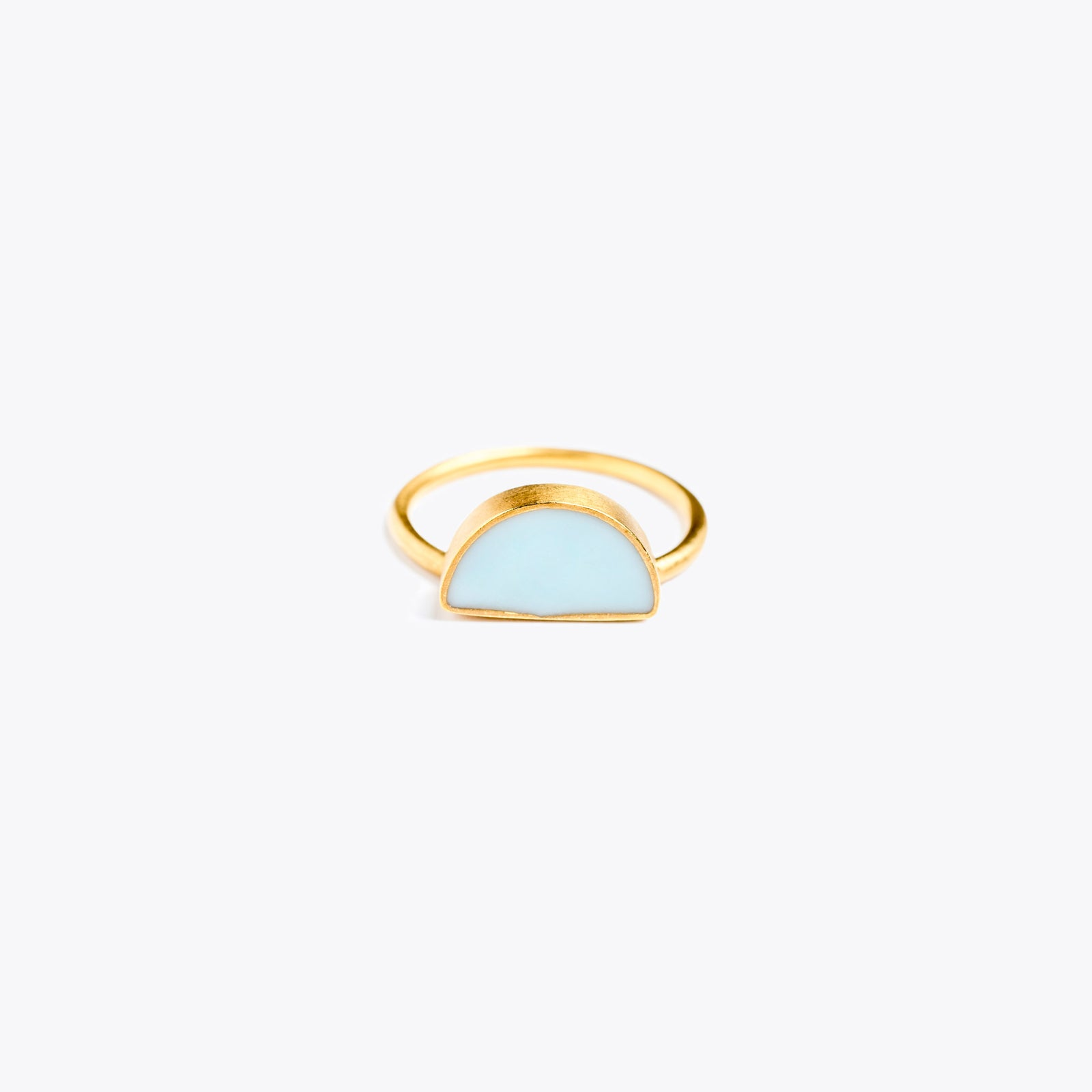 Wanderlust Life Ethically Handmade jewellery made in the UK. Minimalist gold and fine cord jewellery. sunburst enamel ring, mint