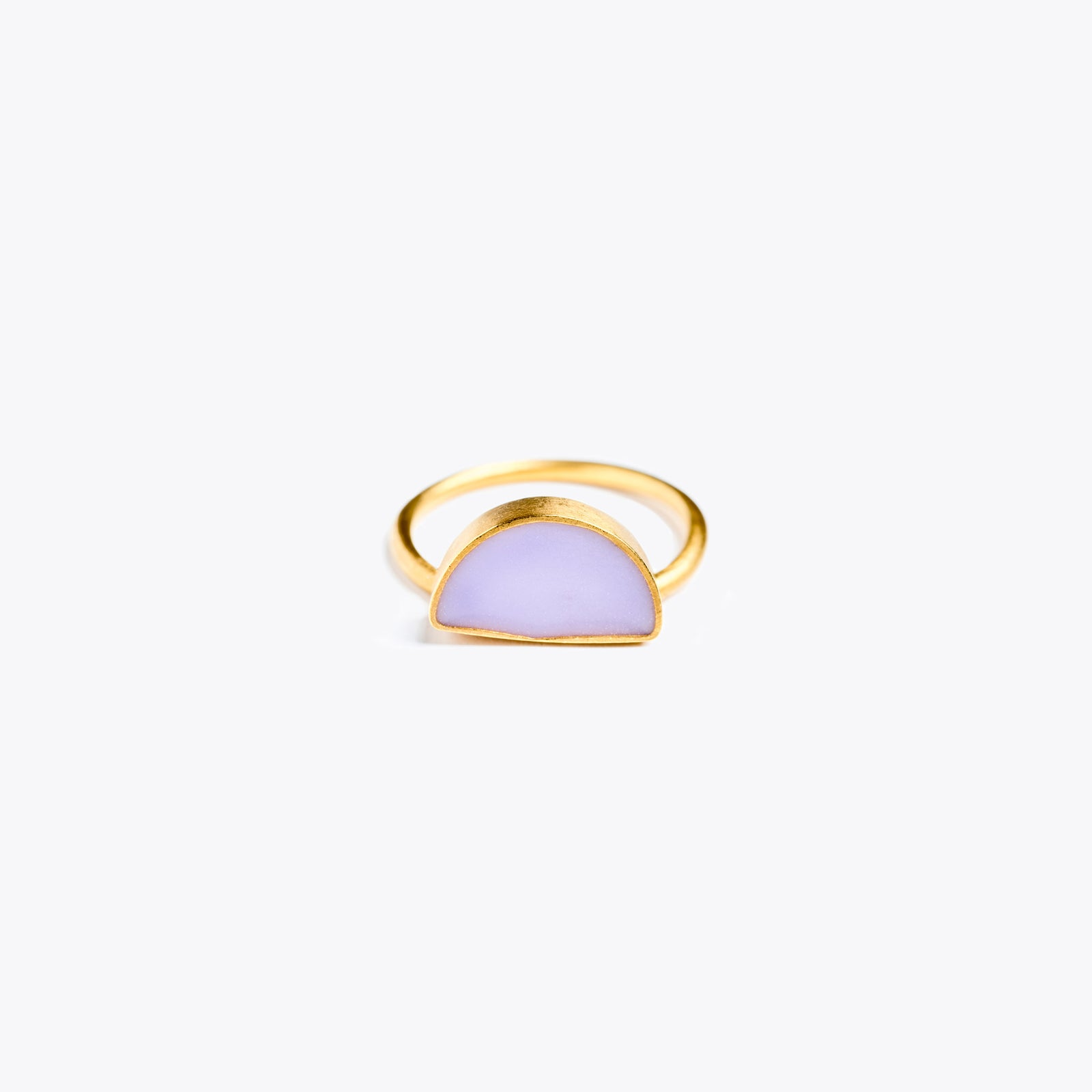 Wanderlust Life Ethically Handmade jewellery made in the UK. Minimalist gold and fine cord jewellery. sunburst enamel ring, lilac
