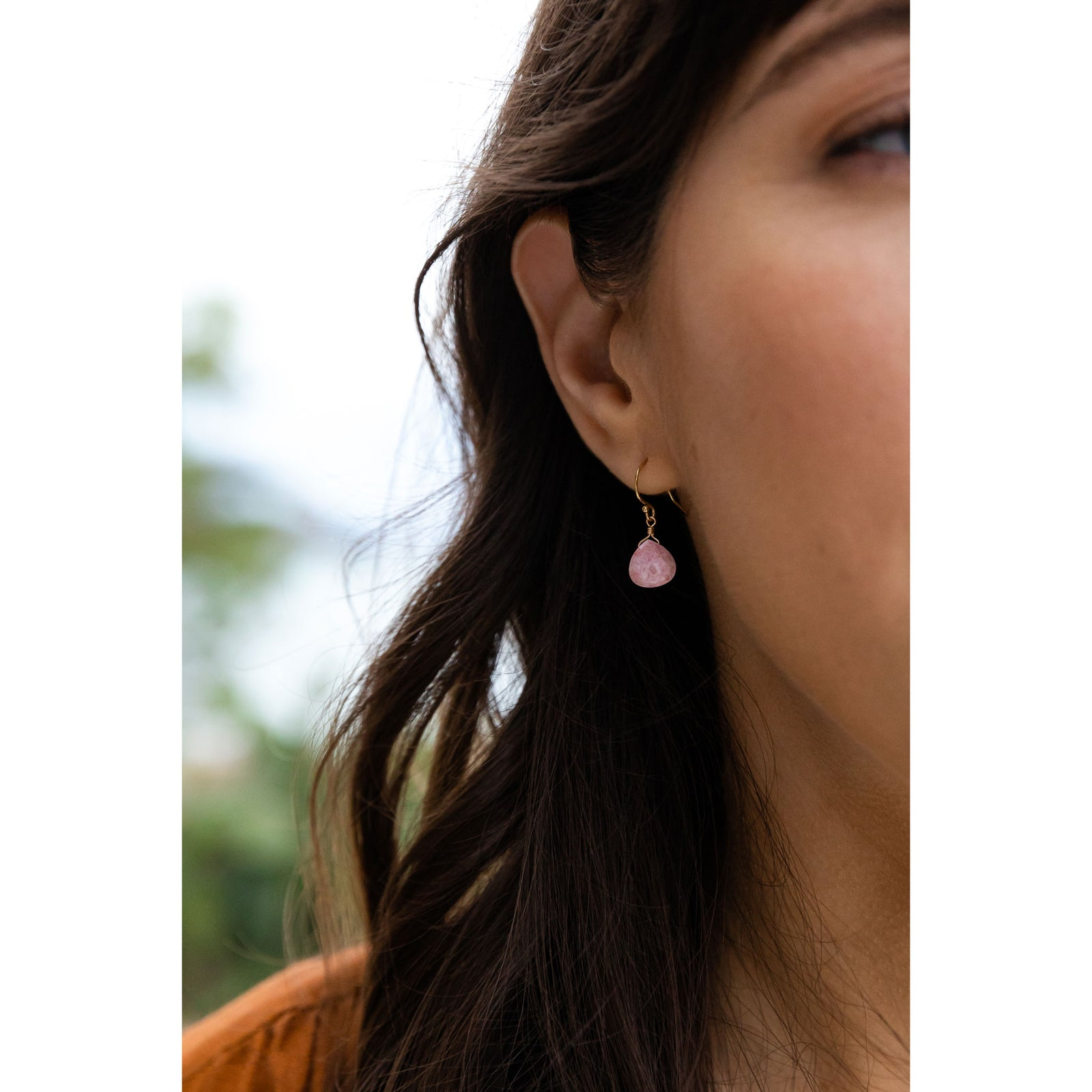 isla drop earring | pink rhodonite