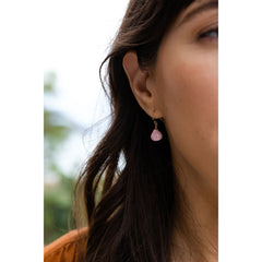 Wanderlust Life Ethically Handmade jewellery made in the UK. Minimalist gold and fine cord jewellery. isla drop earring, pink rhodonite