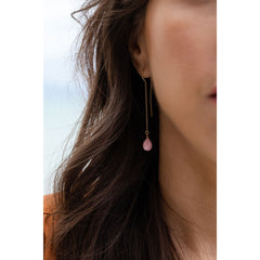 Wanderlust Life Ethically Handmade jewellery made in the UK. Minimalist gold and fine cord jewellery. waterfall earring, pink rhodonite