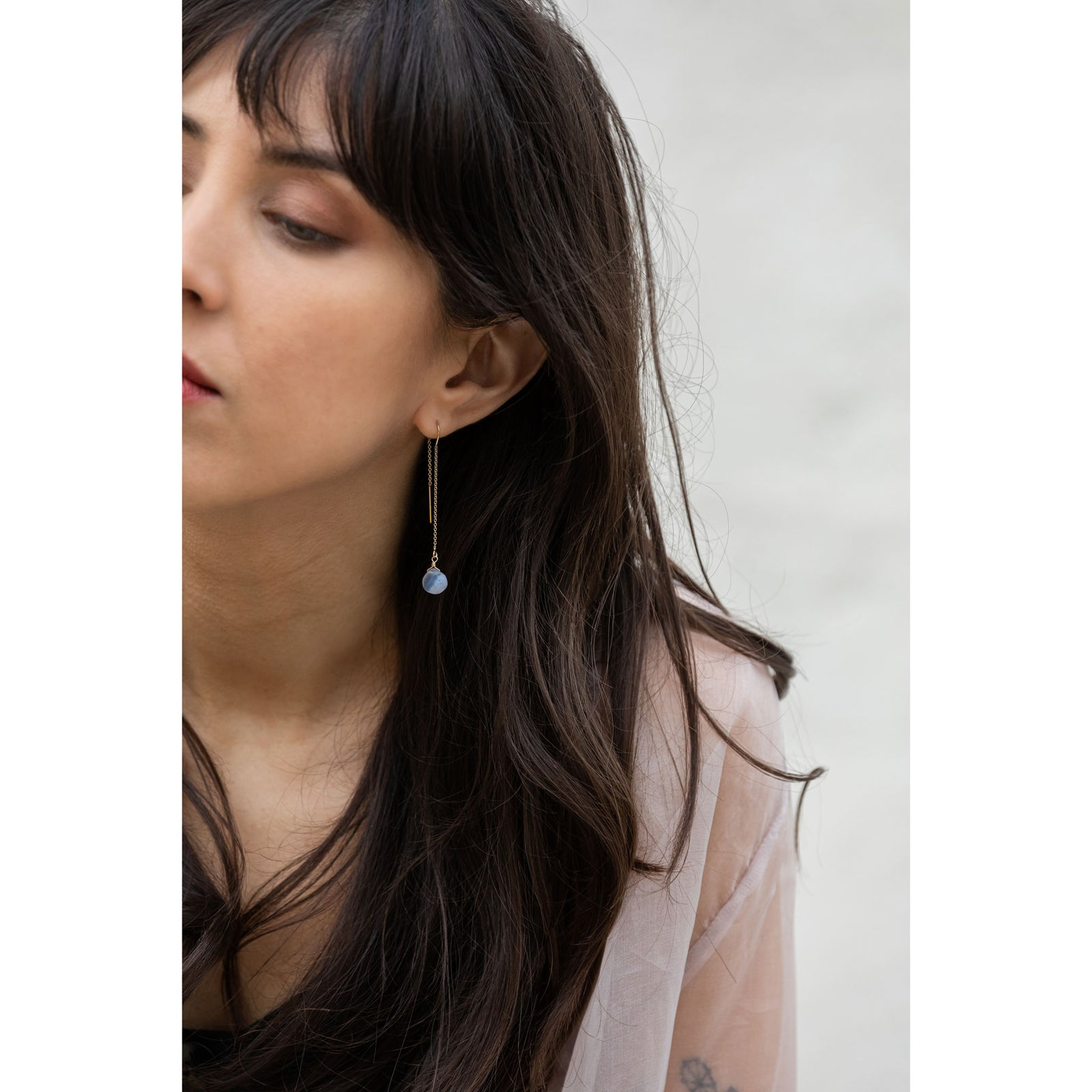 Wanderlust Life Ethically Handmade jewellery made in the UK. Minimalist gold and fine cord jewellery. waterfall earring, blue lace agate