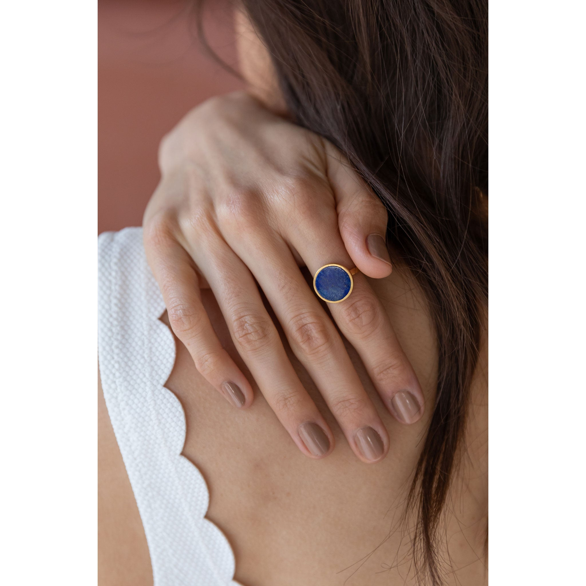 Wanderlust Life Ethically Handmade jewellery made in the UK. Minimalist gold and fine cord jewellery. solar ring, lapis lazuli