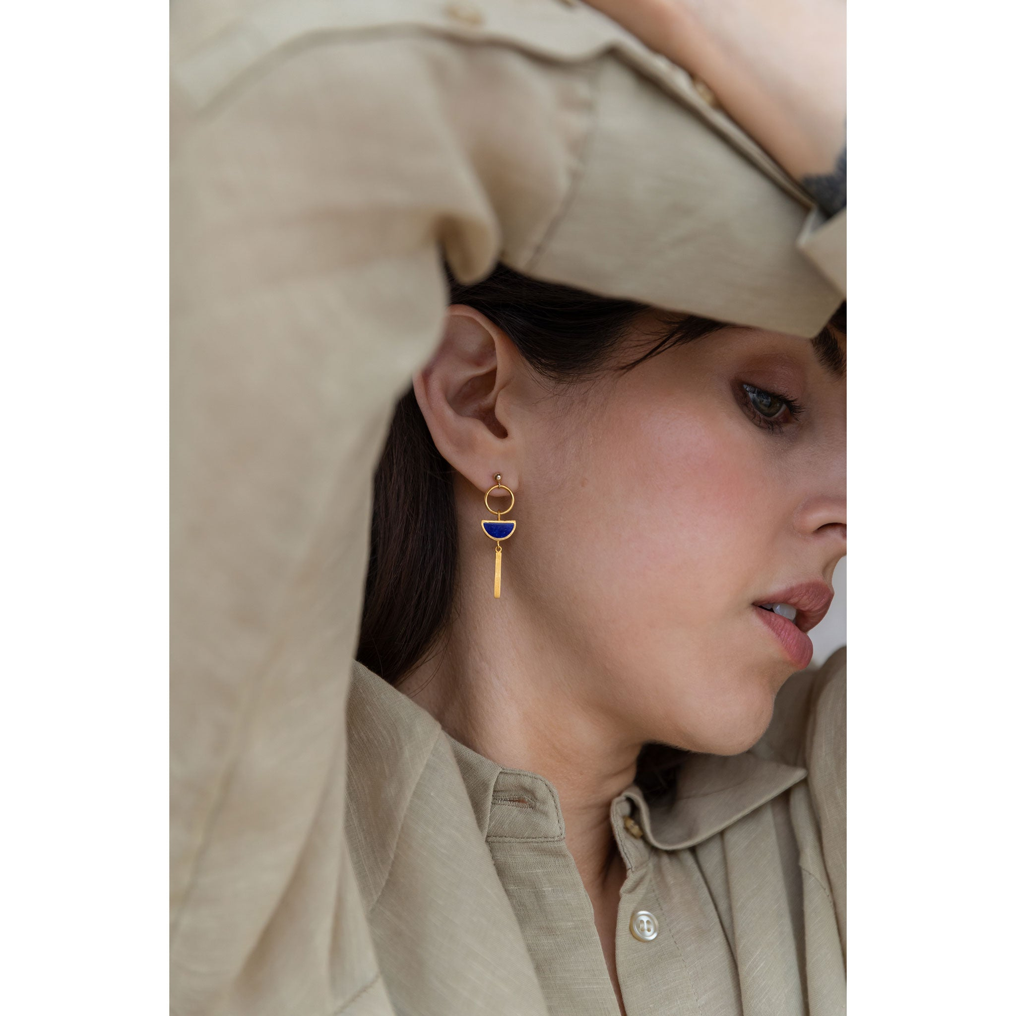 Wanderlust Life Ethically Handmade jewellery made in the UK. Minimalist gold and fine cord jewellery. sunburst drop earring, lapis lazuli