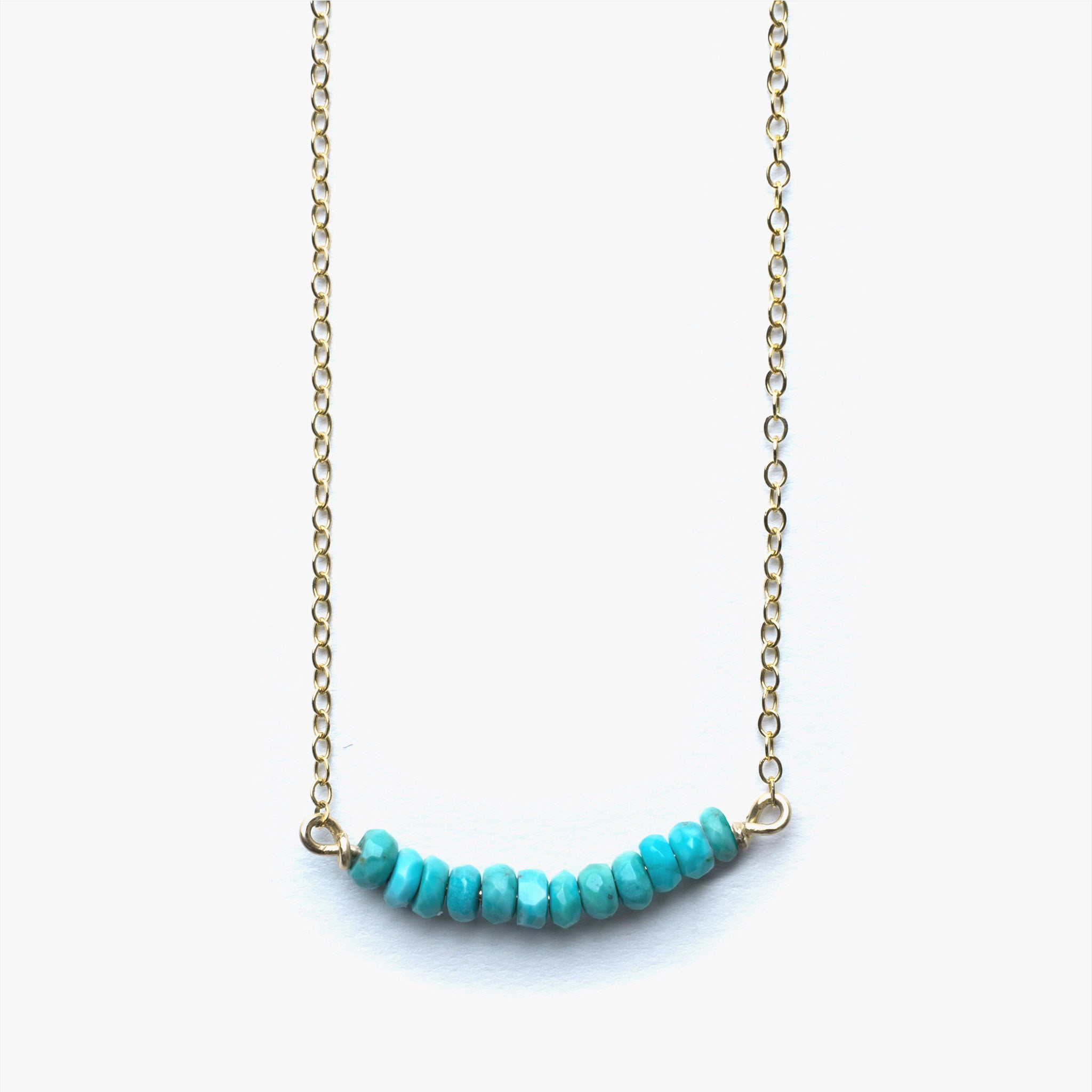 Wanderlust Life 14k gold filled chain necklace with turquoise beaded bar