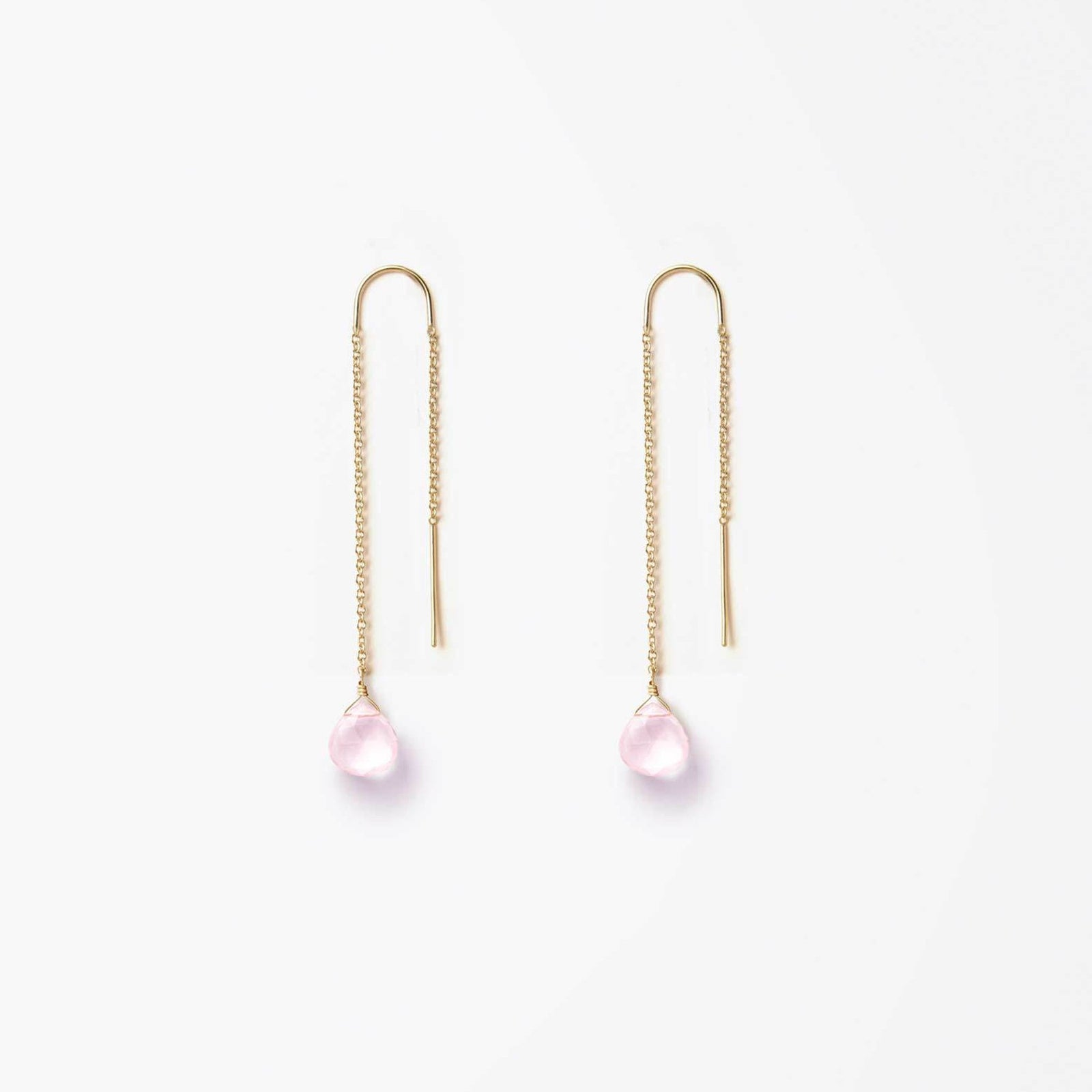 waterfall earring | rose quartz