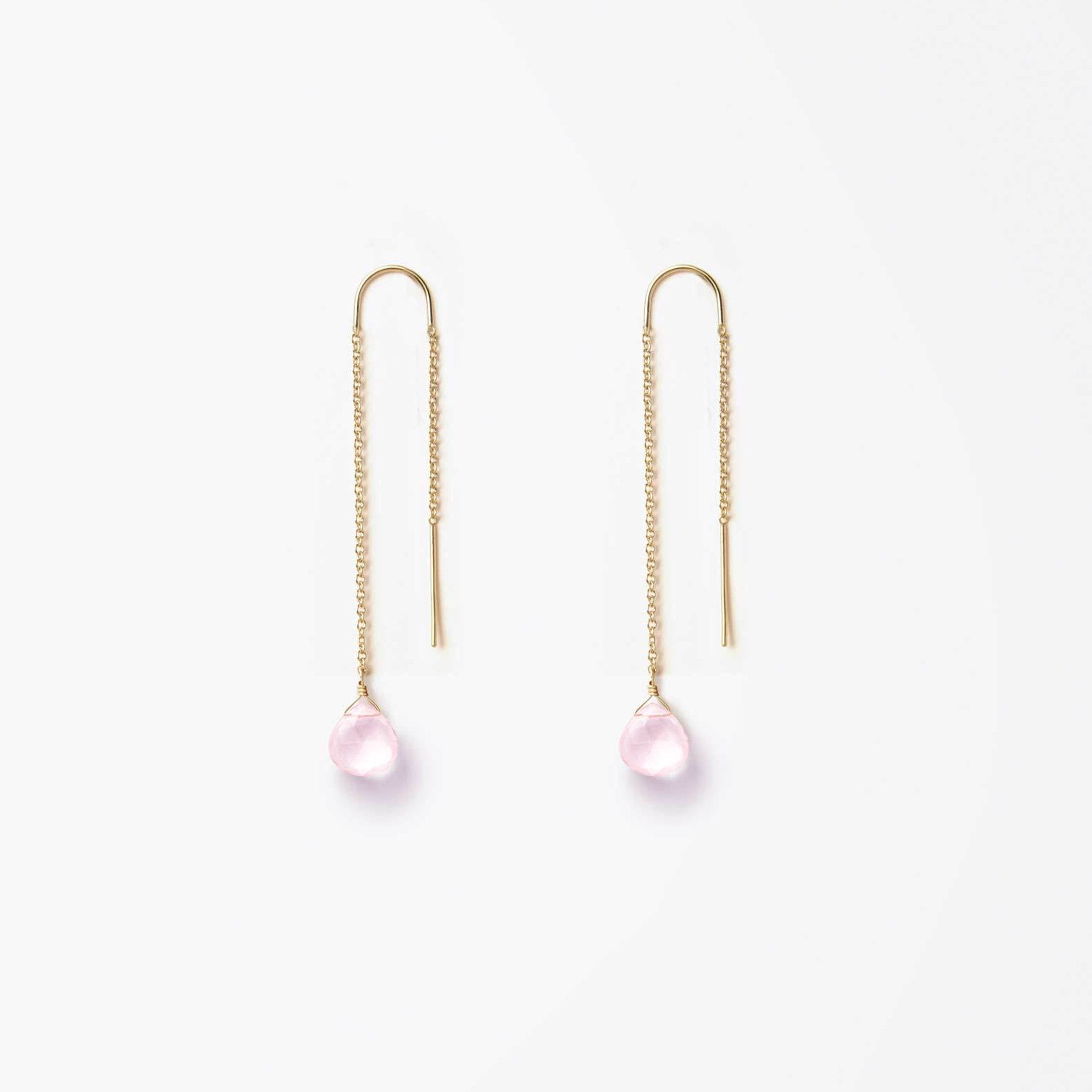 Wanderlust Life Ethically Handmade jewellery made in the UK. Minimalist gold and fine cord jewellery. waterfall earring, rose quartz